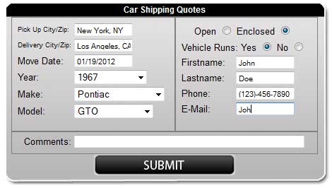 Vehicle Shipping Quotes Magnificent Quickneasy Car Shipping Quotes  Car Shipping Blog  Nationwide