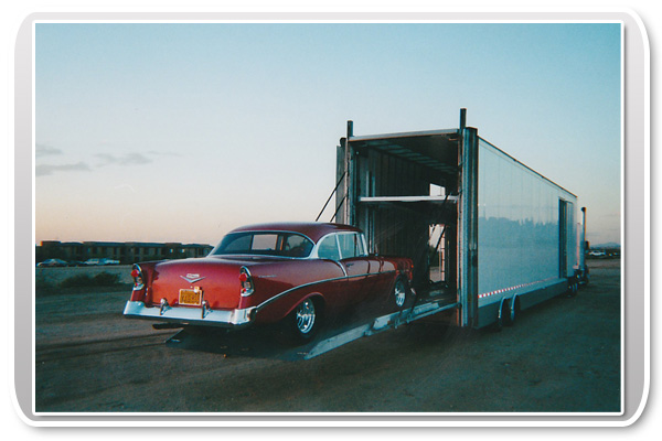 Enclosed Car Transport with Classic Car
